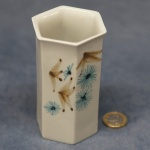 Small Hexagonal Vase Blue and Brown Pattern