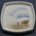 Square Pin Dish Horses Ploughing