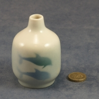 Small Round Bud Vase Dolphins