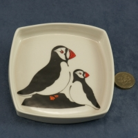 Square Pin Dish Puffins