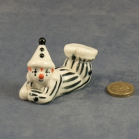 Small Clown Laying Black Stripes - Gloss Finish