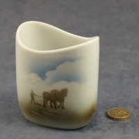 Small Oval Vase Horses and Plough