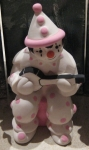 Large Clown Sitting Pink with Banjo