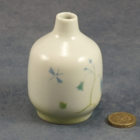 Small Round Bud Vase Harebell and Dragonfly