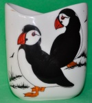 Small Oval Vase Puffins