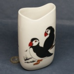 Tall Oval Vase Puffins