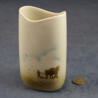 Tall Oval Vase Horses and Plough