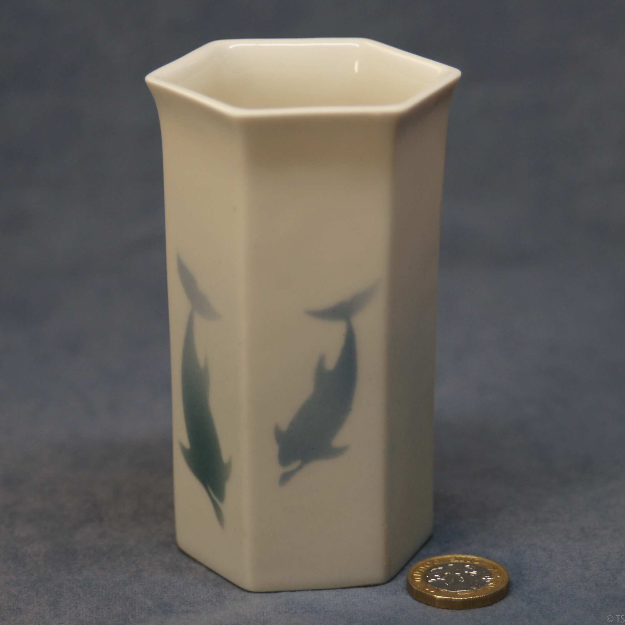 Small Hexagonal Vase Dolphins