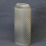 Oval Embossed Vase - Linen Pattern Blue - 16cm