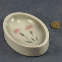 Embossed Oval Dish Carnations