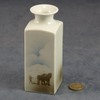 Medium Square Vase Horses and Plough
