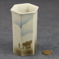 Small Hexagonal Vase Horses and Plough