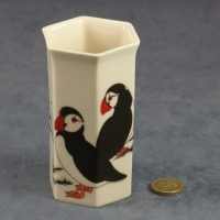 Small Hexagonal Vase Puffins