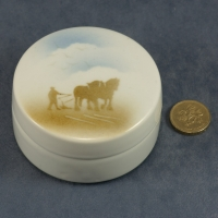 Round Lidded Dish Horses and Plough