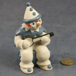 Large Clown Sitting Blue with Banjo