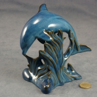 Dolphin - Jumping - Blue Glazed