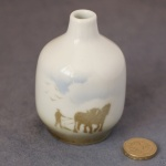 Small Round Bud Vase Horses Ploughing