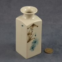 Medium Square Vase Blue and Brown Pattern