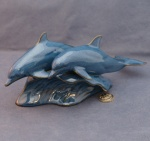 Two Dolphins Blue Glazed