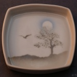 Square Pin Dish Tree and Bird