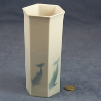 Large Hexagonal Vase Dolphins