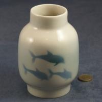 Large Round Vase Dolphins