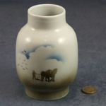 Large Round Vase Horses and Plough