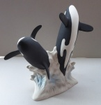 L031 - Pair of Large Breaching Orcas