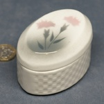 Embossed Oval Lidded Pot Carnations